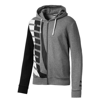 Puma Mens Loud Zip Up Hoodie Logo Jumper Track Top Jacket Grey 577357 03 A92D