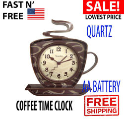 3-D Wall Clock Coffee Mug Cup Teapot Time Keeper Home Kitchen Decor Metal Hand