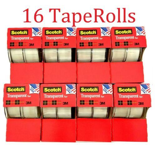 """16pc 3M Scotch Tape Clear Office Transparent 3/4"""" 250"""" w/ Desktop Dispenser Lot"""