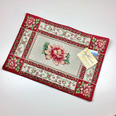 - Noel Christmas Amaryllis Floral Single Tapestry Placemat ~ April Cornell