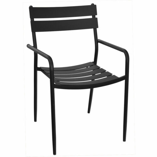 New Luca Restaurant Black Steel Outdoor Chair