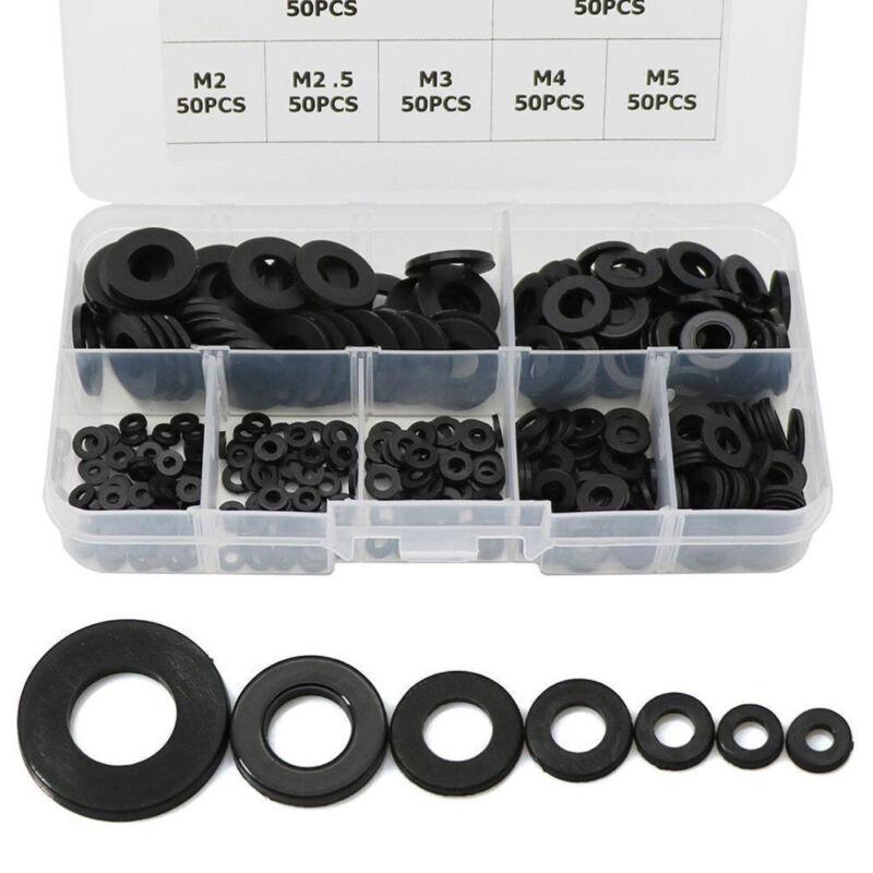 350Pcs Set 7 Sizes Black Nylon Flat Washer Assortment Kit M2