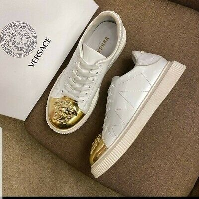 Versace men's shoes white and gold