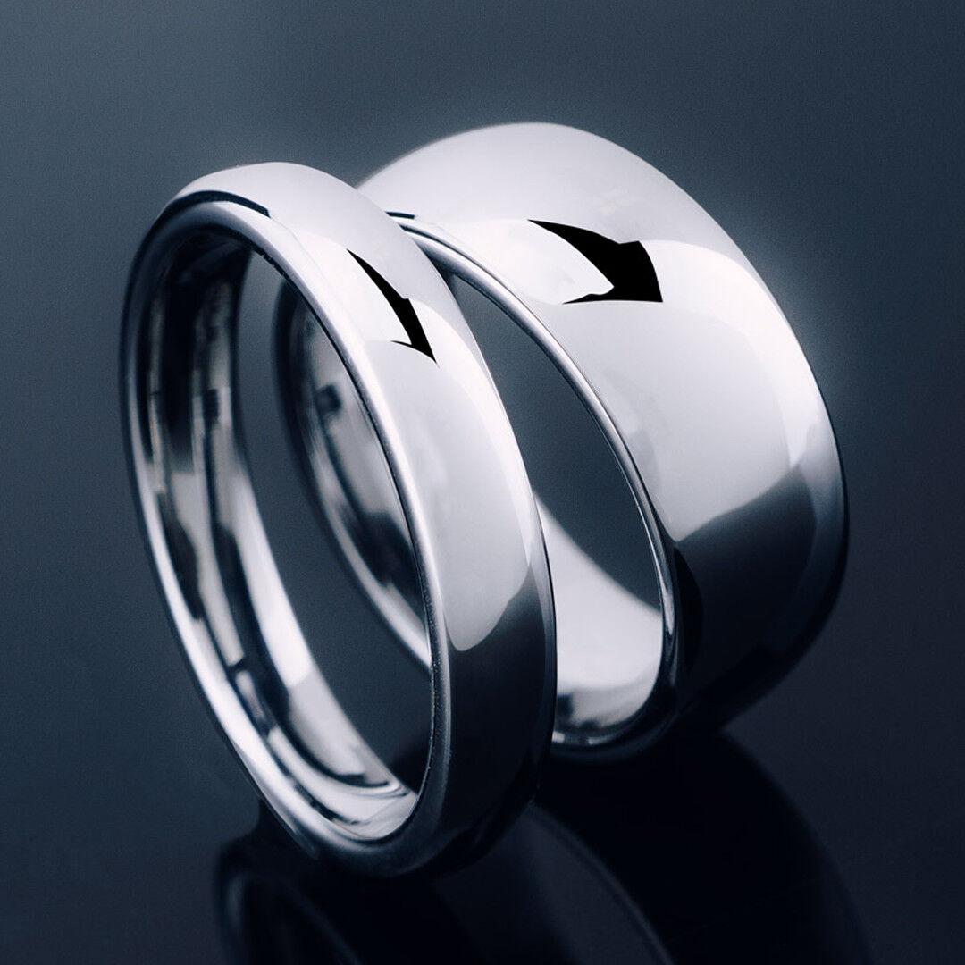Tungsten Carbide Silver Polished Wedding Band MEN WOMENS Eng