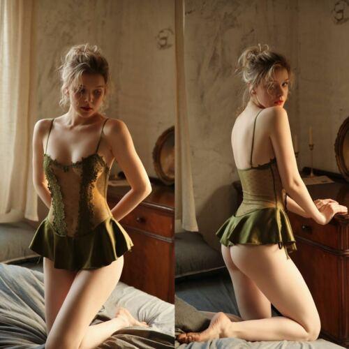Women Teddy Lingerie Body Suit Floral Lace Soft Stretchy Romantic Sleepwear