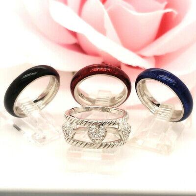 Hidalgo Diamond Insert 18k White gold with red blue black enamel rings sz 6 MINT