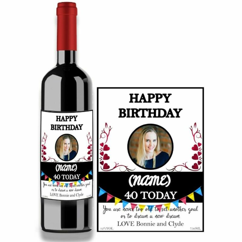Personalised Name Photo Year Wine Bottle Label for Birthday Any occasion BL020