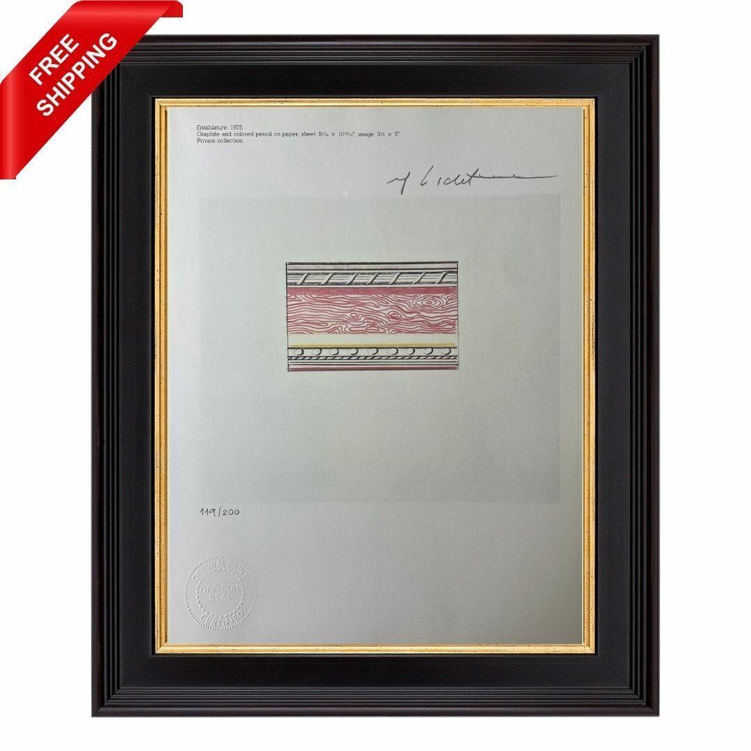 Roy Lichtenstein Original Hand Signed Print With COA - Entablature, 1975 - $43.00