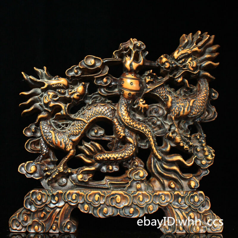 "12.4"" China Collection old Boxwood Hand-carved Dragon Screen"