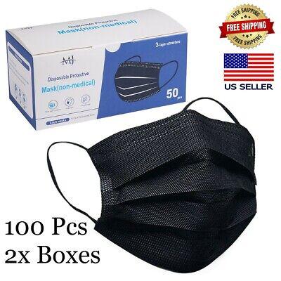 100 PCS Black Face Mask Mouth & Nose Protector Mask Respirator USA STOCK!