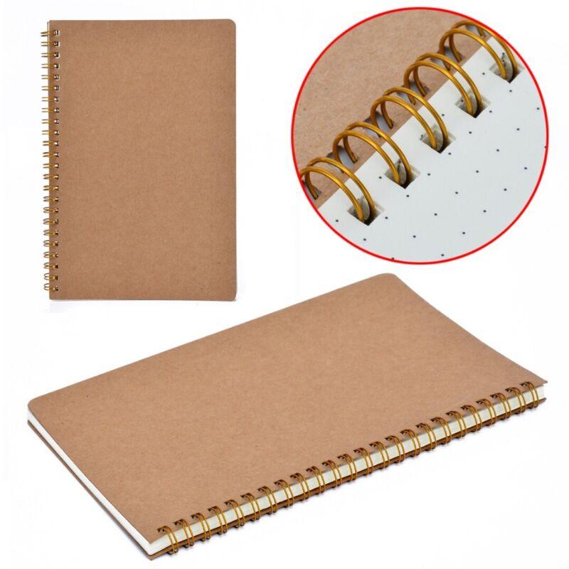 Medium A5 Dotted Grid Spiral Notebook Journal Cardboard Soft