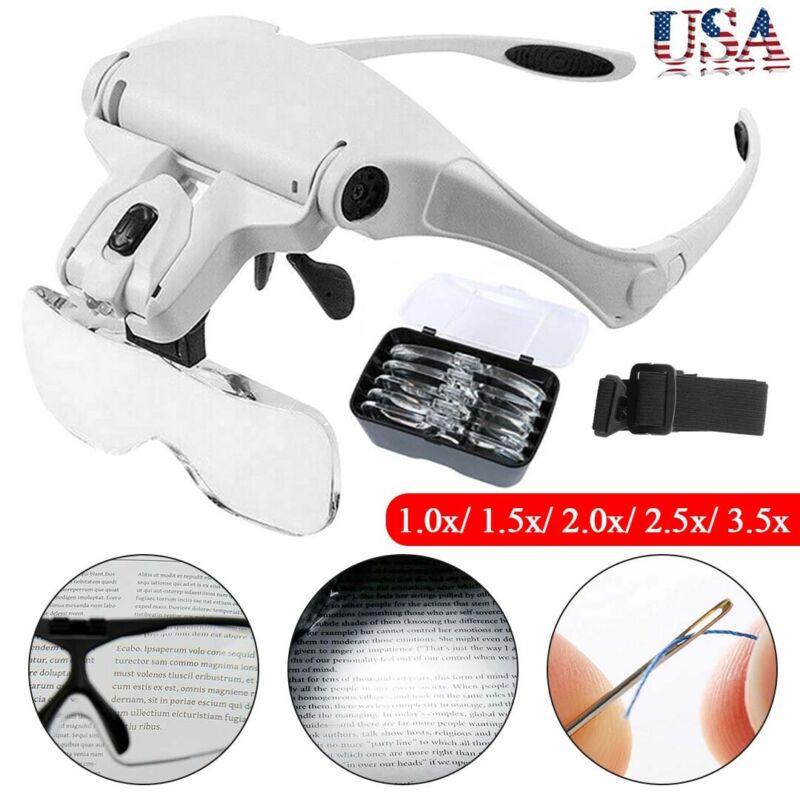 LED Headband Magnifying Glass Headset Jeweler Magnifier Illuminated Visor Loupe