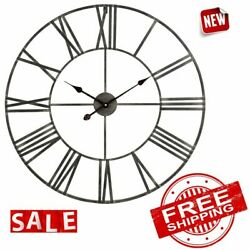 CLOCK WALL ROUND METAL Frame Large Modern Big Home Decorations Roman Numeral New