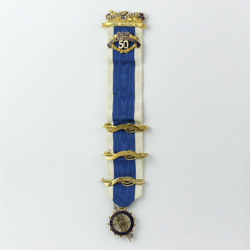 DAR Daughters of the American Revolution Ribbon, 5 14k Gold Pins and 1 Medal