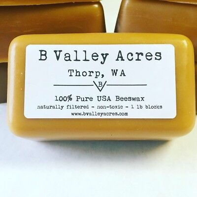 1 Pound Block of Pure USA Triple Filtered Beeswax, bulk pure beeswax blocks