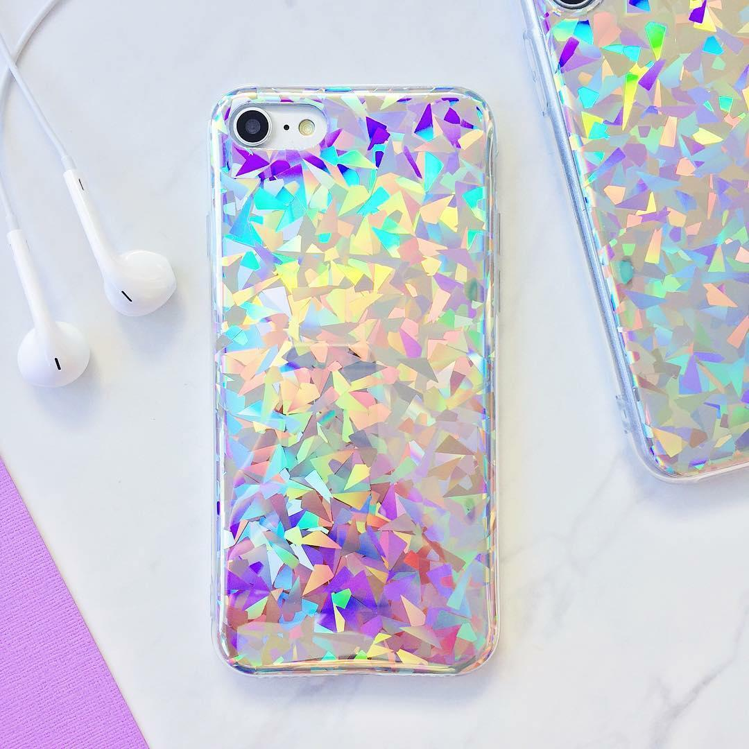 6b30719be3fa5 Details about Holographic Laser Glossy Diamond Prism Soft Rubber TPU 3D  Case Cover For iPhone