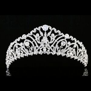 Bridal Pageant Rhinestone CZ Crystal Wedding Prom Crown Tiara 7968