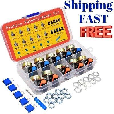 eBay - Potentiometer Assortment Kit with Knobs 1K 2K 5K 10K 50K 100K 250K 500K 1M Nuts