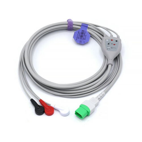 Mindray ECG Compatible Direct Connect 12 Pin 3 Leads Snap - Same Day Shipping
