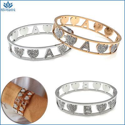 Bracciale da donna braccialetto rigido cuore con lettera iniziale in acciaio per
