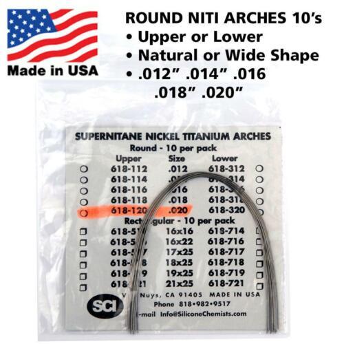 Orthodontic NITI (Nickel Titanium) Round Arch Wires Natural or Wide 10 PCS