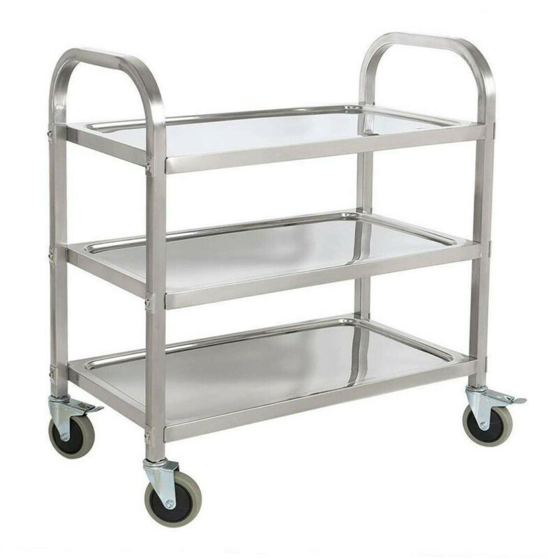 Stainless Steel 3-Tier Kitchen Trolley Cart Food Storage Car