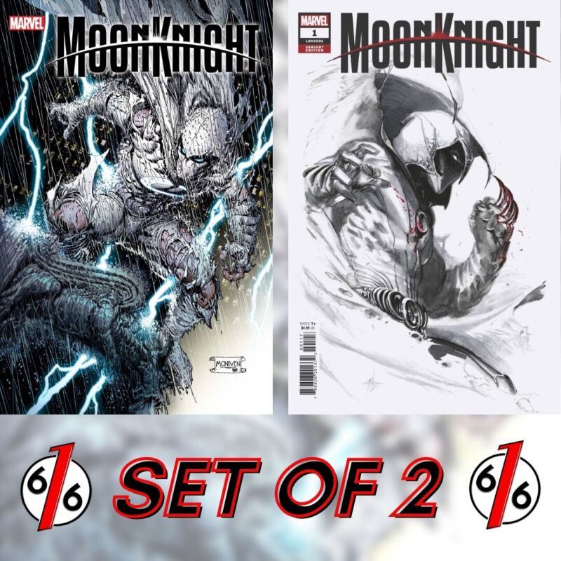 🚨🔥 MOON KNIGHT #1 SET OF 2 McNiven Main Cover & Dell'Otto Variant NM Gemini
