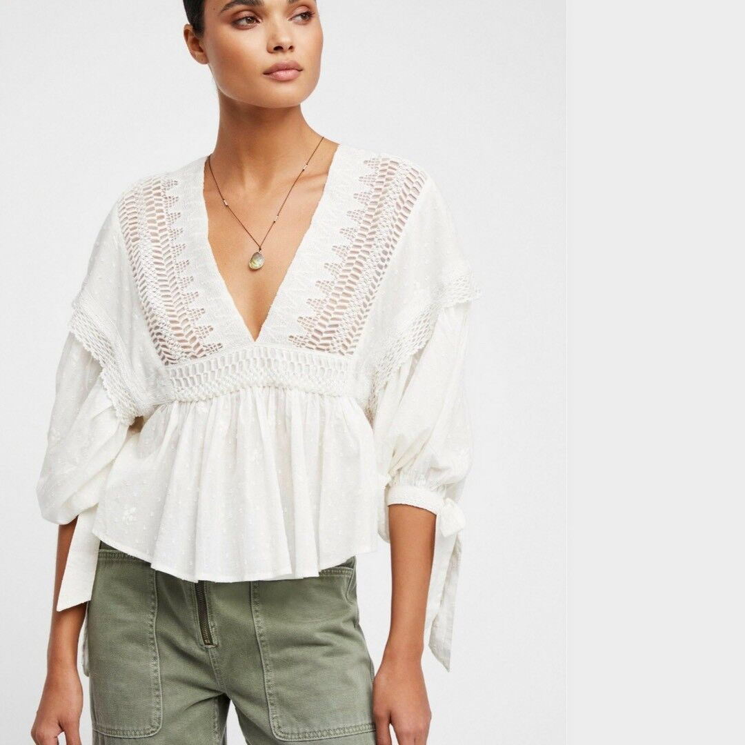 4490fb2d74d18 Details about NWT Free People Drive You Mad Crochet-Trim Peasant Blouse.  Ivory Small S  128 FP