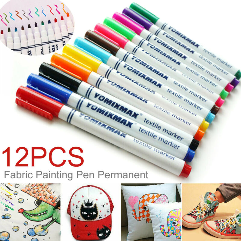 12Pcs Fabric Markers Permanent Painting Pens Kit Clothing Te