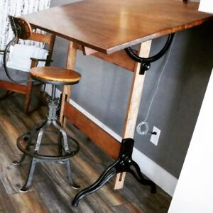 Antique drafting table w/ cast iron base