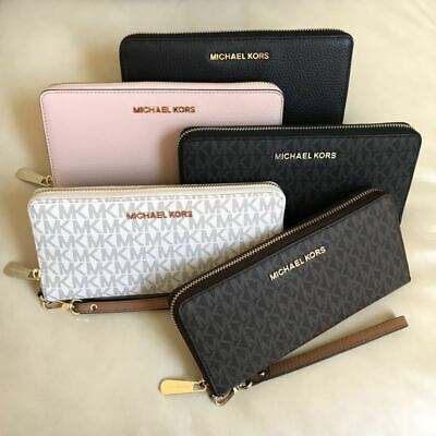 New Michael Kors Zip Around Travel Continental Leather Wallet Wristlet