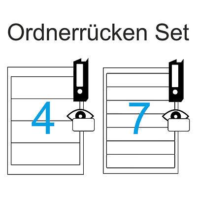 Etiketten Set Ordnerrücken Schmal 10x 192x38 und Breit 25x 190x61 Gesamt 35 A4