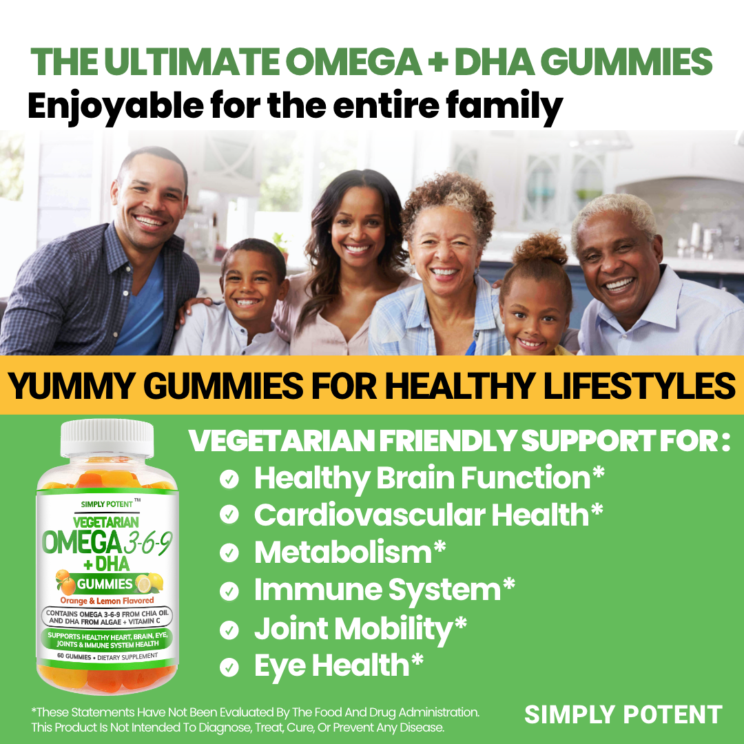 Omega 3 6 9 + DHA + Vitamin C Fish-Free Gummies for Brain, Heart, Joint Support 9