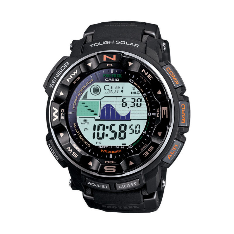 Casio Pro Trek Men's Solar Atomic Watch Black PRW2500R-1CR