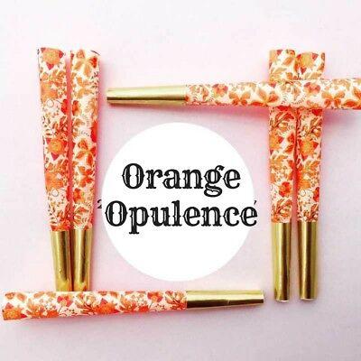 Queen Green Designer Smoking Cones w/ Gold Tip Orange Opulence Paisley Design