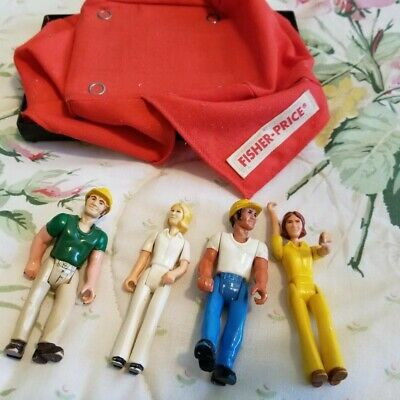 Vintage 1970's Fisher Price Toys - four action figures and a tent
