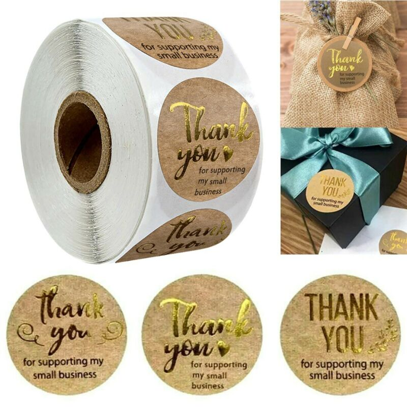 US 500Pcs Round Thank You For Supporting Handmade Food Gift