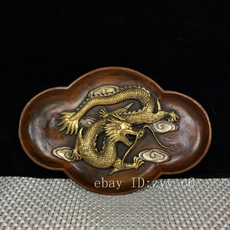 "7.6"" Chinese antique pure copper plated gold and silver dragon pattern pen wash"