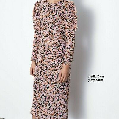 MDW SALE + FREE SHIPPING Zara Floral Print Dress Midi Ruched Pink XS NWOT