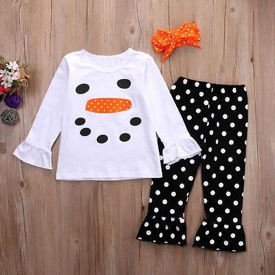 Neu Kinder Mädchen Weihnachten Schneemann Olaf Top T Shirt Gepunktet Hose Kostüm