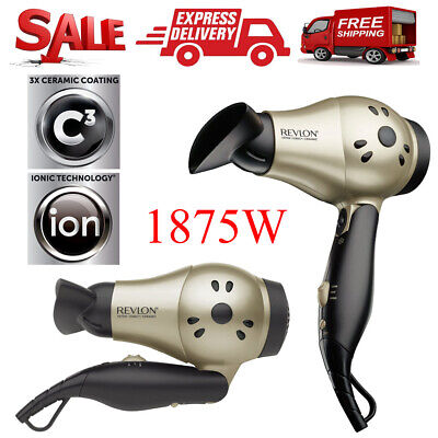 Revlon Ionic Hair Dryer Professional Travel Turbo Blow Compact 2 Speed ​​1875W
