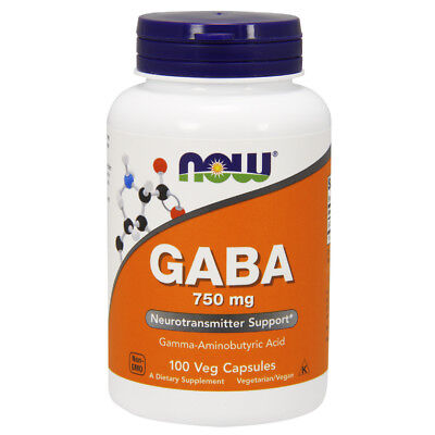 (Now Foods GABA 750mg - 100 caps - Calm & Relax - RELIEVE STRESS)