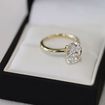 4 Ct Oval Cut Diamond Solitaire Engagement & Wedding Ring 14K Yellow Gold Over