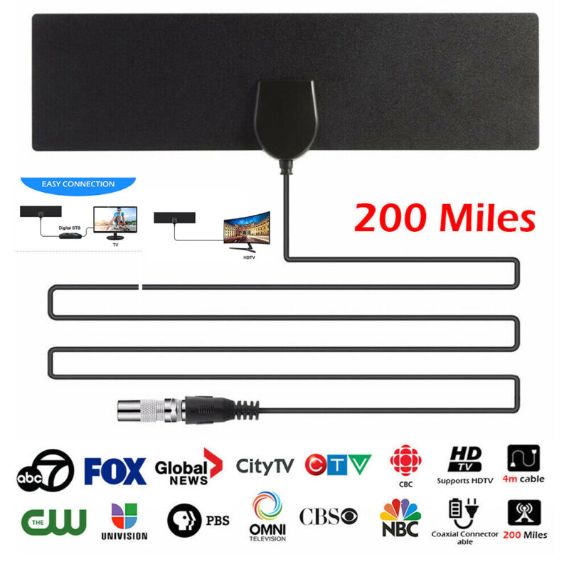 200Miles Black Indoor Digital TV HDTV Antenna 2019 Latest UH