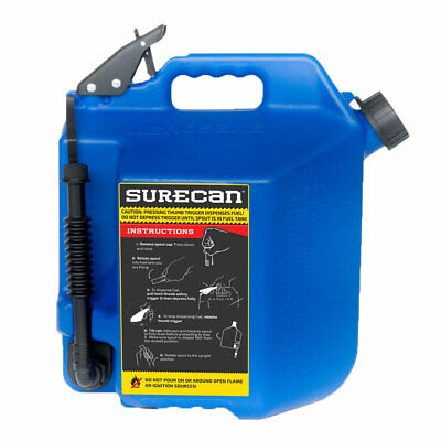 Surecan 5 Gallon 19 Liter Self Venting Kerosene Fuel Can W Rotating Spout Blue