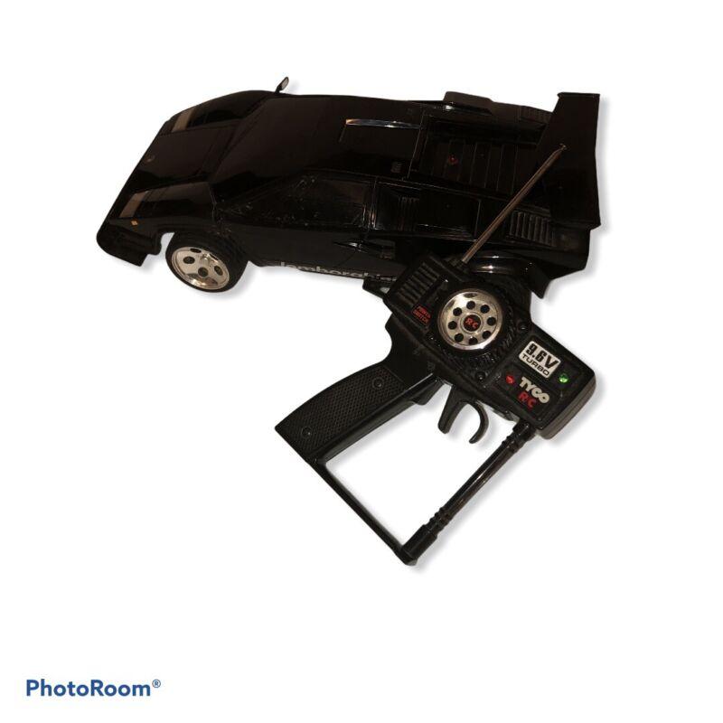 Vintage TYCO RC 9.6V Twin Turbo Black Lamborghini Countach 1989 Used Untested