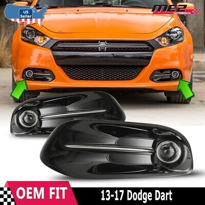 2013-2016 Dodge Dart Front Bumper Clear Fog Light+Wiring+Switch Kit