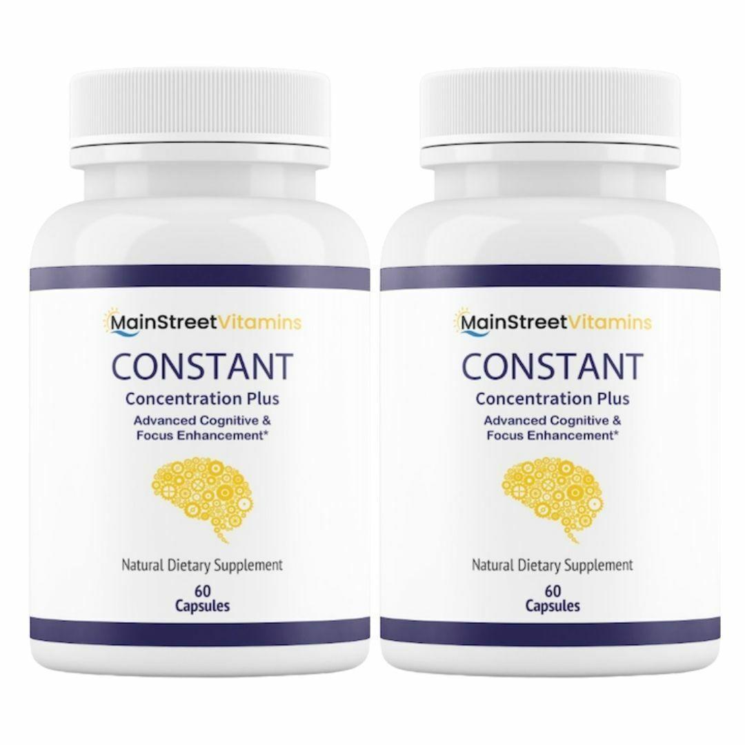 2 Bottles Constant Concentration Plus, Advanced IQ  60 Capsules x 2