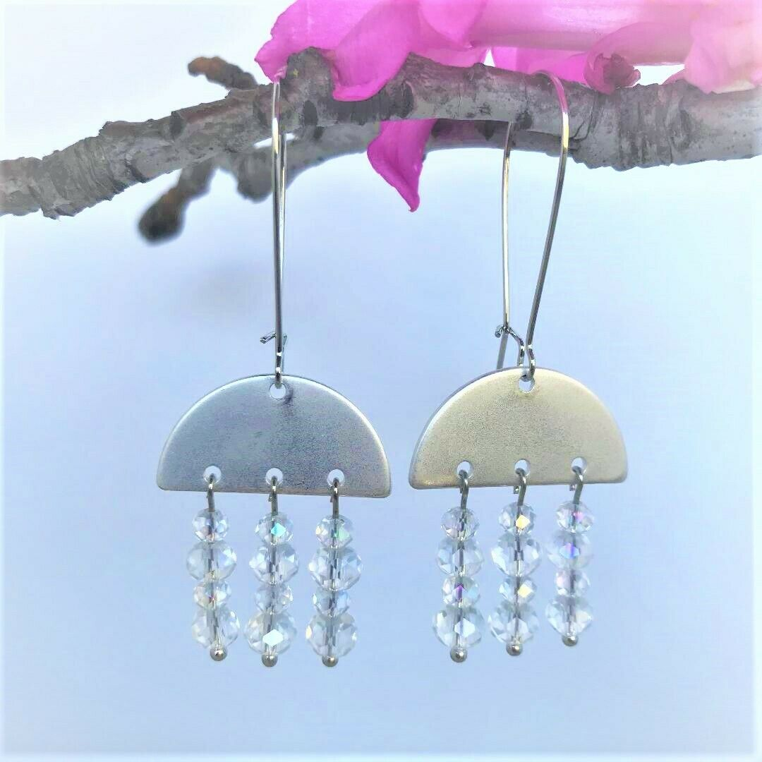 Matte Silver Metal Half Circle Connector Earrings With Clear Faceted Beads - $9.97