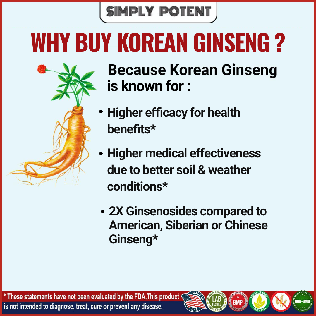 Korean Ginseng Red Panax Ginseng 1000 mg Huge 3 Month Supply for Energy & Libido 4